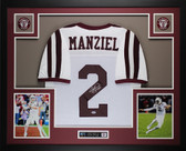 Johnny Manziel Autographed and Framed White Aggies Jersey Auto PSA COA