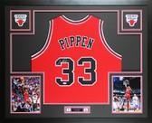 Scottie Pippen Autographed & Framed Red Bulls Jersey Auto PSA COA D6-L