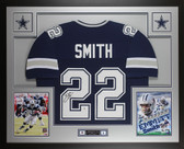 Emmitt Smith Autographed & Framed Blue Cowboys Jersey Beckett COA D18