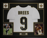 Drew Brees Autographed & Framed White Saints Jersey Beckett COA D14