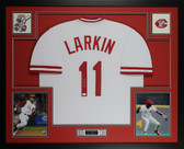 Barry Larkin Autographed and Framed White Reds Jersey Auto JSA COA D3