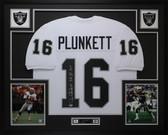 Jim Plunkett Autographed & Framed White Raiders Jersey Beckett COA D6-L