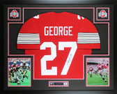 Eddie George Autographed & Framed Red Ohio State Jersey JSA COA D2-L