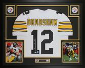Terry Bradshaw Autographed & Framed White Steelers Jersey Auto JSA COA D5-L