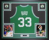 Larry Bird Autographed & Framed Green Celtics Jersey Auto Beckett COA D11-L