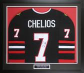 Chris Chelios Autographed & Framed Blackhawks Jersey Auto JSA COA D1-M