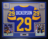 Eric Dickerson Autographed HOF 99 and Framed Blue Rams Jersey Auto JSA Certfied