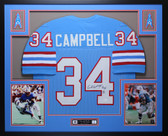 Earl Campbell Autographed HOF 91 and Framed Blue Oilers Jersey Auto JSA Certfied