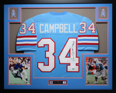 Earl Campbell Autographed HOF 91 and Framed Blue Oilers Jersey Auto GTSM COA