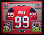 JJ Watt Autographed & Framed Red Texans Jersey Auto JSA Certified