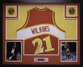 Dominique Wilkins Autographed and Framed Red Hawks Jersey Auto JSA Certified