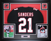 Deion Sanders Autographed and Framed Black Falcons Jersey Auto JSA COA