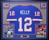 Jim Kelly Autographed and Framed Blue Bills Jersey Auto JSA Certfied