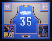 Kevin Durant Autographed and Framed Blue Jersey Auto JSA Certified