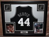 George Gervin Autographed HOF 96 and Framed Black BLWN Spurs Jersey Auto JSA Certified