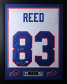 "Andre Reed Framed and Autographed White Bills Jersey Auto JSA Certified (24""x30"")"