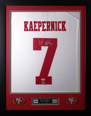 """Colin Kaepernick Framed and Autographed White 49ers Jersey PSA Certified (24""""x30"""")"""