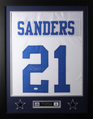 "Deion Sanders Framed and Autographed White Cowboys Jersey Auto JSA Certified (24""x30"")"