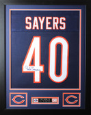 Gale Sayers Framed and Autographed Navy Bears Jersey Auto JSA Certified