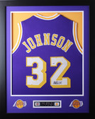 "Magic Johnson Framed and Autographed Purple Lakers Jersey PSA Certified (24"" x 30"")"