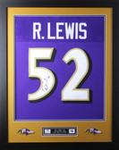 "Ray Lewis Framed and Autographed Purple Ravens Jersey JSA Certified (24"" x 30"")"