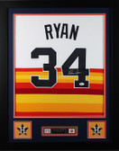 "Nolan Ryan Framed and Autographed Rainbow Astros Jersey Auto JSA Certified (24""x30"")"