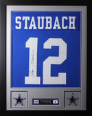 Roger Staubach Framed and Autographed Blue Jersey Auto JSA Certified