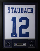 Roger Staubach Framed and Autographed White Cowboys Jersey JSA Certified