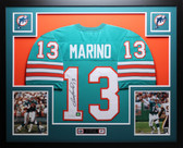 Dan Marino Autographed and Framed Aqua Dolphins Jersey Auto JSA Certified