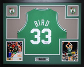 Larry Bird Autographed and Framed Green Celtics Jersey Auto PSA Certified