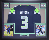 Russell Wilson Autographed and Framed Blue Seahawks Jersey Auto Wilson COA