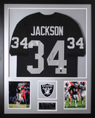 Bo Jackson Autographed and Framed Black Raiders Jersey Auto JSA Certified (Vert)