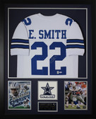 Emmitt Smith Autographed and Framed White Cowboys Jersey Auto PSA Certified (Vert)