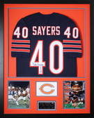 Gale Sayers Autographed HOF 77 and Framed Navy Bears Jersey JSA Certified (Vert)