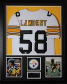 Jack Lambert Autographed HOF 90 and Framed White Steelers Jersey JSA Certified (Vert)