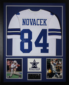 Jay Novacek Autographed and Framed White Cowboys Jersey Auto GTSM Certified (Vert)