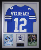 Roger Staubach Autographed and Framed Blue Cowboys Jersey JSA Certified (Vert)