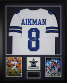 Troy Aikman Autographed and Framed White Cowboys Jersey Auto PSA Certified (Vert)