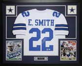 Emmitt Smith Autographed and Framed White Cowboys Jersey Auto PSA Certified