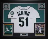Ichiro Suzuki Autographed and Framed White Mariners Jersey Auto Ichiro Certified