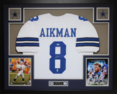Troy Aikman Autographed and Framed White Cowboys Jersey Auto PSA Certified
