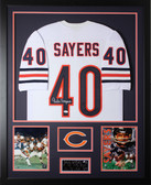Gale Sayers Autographed and Framed White Bears Jersey Auto JSA Certified (Vert)