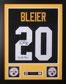 "Rocky Bleier Framed and Autographed Black Steelers Jersey JSA Certified (24""x30"")"