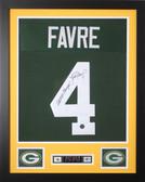 "Brett Favre Autographed SB and Framed Green Packers Jersey Favre Certified (24""x30"")"