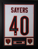 Gale Sayers Framed and Autographed White Bears Jersey Auto JSA Certified