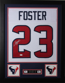 Arian Foster Framed and Autographed White Texans Jersey Auto JSA Certified