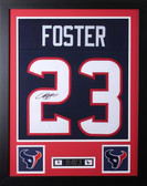 "Arian Foster Framed and Autographed Navy Texans Jersey Auto JSA Certified (24""x30"")"