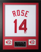 "Pete Rose Autographed and Framed White Reds Jersey Auto JSA Certified (24""x30"")"