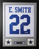 """Emmitt Smith Autographed and Framed White Cowboys Jersey Auto PSA Certified (24""""x30"""")"""