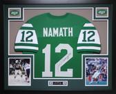 Joe Namath Autographed #12 and Framed Green Jets Jersey Auto JSA Certified